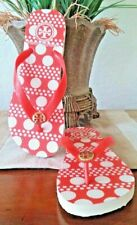 TORY BURCH THIN  FLIP FLOP POLKA DOTS RED-ORANGE/OFF WHITE RUBBER SIZE 7 New