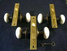 (3) Pair Antique Victorian Mortise Door Locks, White Porcelain Knobs, Roses, Key