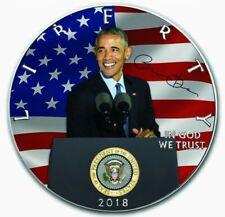 2018 American Eagle BARACK OBAMA Colorized 1oz .999 Silver Coin - Box & COA