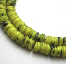 """10"""" STRAND OF 84 RARE AMAZING SMALL OLD YELLOW/COBALT CZECH DISK ANTIQUE BEADS"""