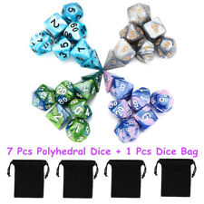 7Pcs Set Acrylic Polyhedral Dice with Bag DND RPG MTG Role Playing Board Game