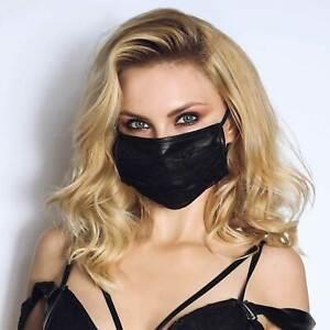 NOIR HANDMADE Gothic Mund-Nasen-Bedeckung mit Spitze Behelfs-Maske Schwarz