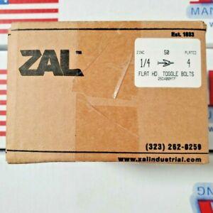 """ZAL INDUSTRIAL 1/4"""" x 4"""" Zinc Plated Flat Head Toggle Bolts, 25D400ATF, Box/50"""