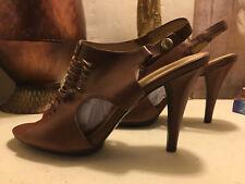 """Circa Joan & David Brown Slingback Open Toe Women Shoe Sze 8M Footwear 4"""" Heel"""