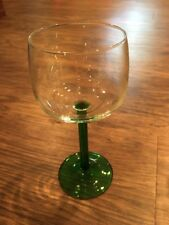 FIVE Green Stem Clear Wine Glasses France Glassware Luminarc 1970s Barware 6 oz