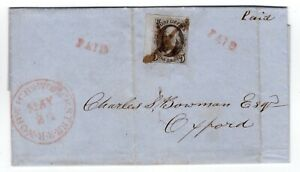#1a Left Margin Norwich & Worcester Railroad 1849 Webster MA Letter PF Cert