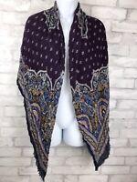 """Oversized Purple Paisley Scarf Handkerchief Bandanna Print Eyelash Fringe 51x53"""""""
