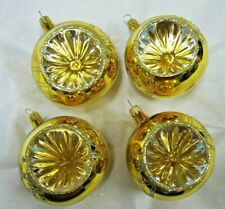 """4 Large Vintage Colombia Gold Indent Glitter Glass Christmas Ornaments ~ 2.75"""" D"""