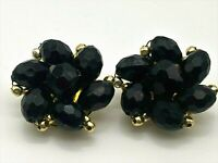 Vintage Black Lucite Beaded Flower Cluster Earrings Clip On Gold Tone Hong Kong