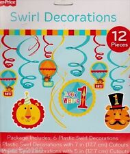 FISHER PRICE CIRCUS SWIRL DECORATIONS (12) ~ 1st First Birthday Party Supplies