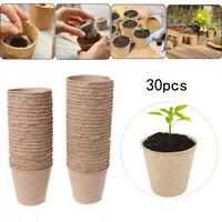 30X Nursery Cup Blumentopf 8cm runder Zellstoff Torf Biologisch abbaubare Faser