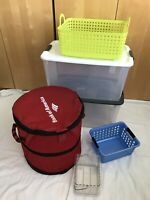 STERILITE 70 Quart Clear Storage Tote W/Lid Lot of 6 Laundry Bag Baskets Interde