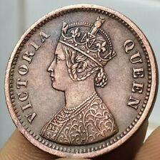 British India, 1/2 Pice, 1862, Victoria Queen, KM# 466, Calcutta, Copper (B-550)