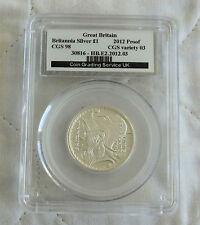 2012 £1 BRITANNIA SILVER PROOF SLABBED CGS 98 - 25th ANNIV PORTRAIT COLLECTION j