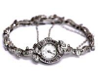Hamilton platinum 14k white gold chain 5.44ct vintage womens diamond watch 28.6g