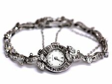 Hamilton platinum 14k white gold chain 5.44ct vintage womens diamond watch 28.6g