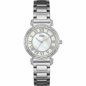 Guess Ladies Watch Silver White - Stunning Gift Present Xmas Birthday W0831L1