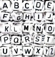 wholesale 1000 pcs alphabet letter beads, white, cube, black letter, mixed