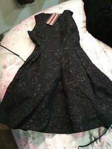 BNWT Jack Wills Tickton Star Jacquard Black Dress Size 8 tags ##Rec C4 JT
