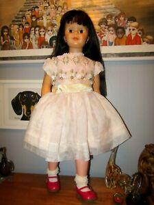 Vtg Sheer Chiffon Girl Party Dress White Lace full circle Playpal Doll Sz 3