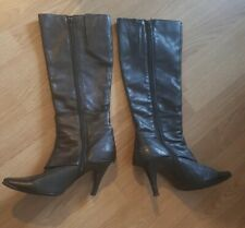 Moda In Pelle Black Leather Boots - size 38 (5.5)