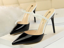 Sexy female Mary Jane Slingback Pumps Synthetic Leather High Heel Pointy Shoes