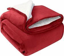 Sherpa Flannel Fleece Reversible Blanket Extra Soft Brush Fabric Utopia Bedding