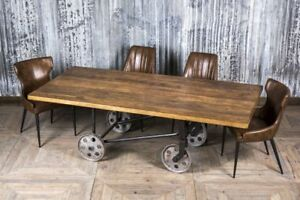 VINTAGE DINING TABLE TROLLEY CART TABLE WITH WHEELS METAL TIMBER KITCHEN TABLE