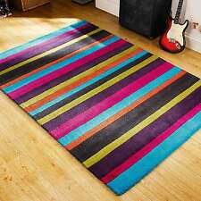Funky & Bright Jazz Multi Coloured Stripes Modern Handmade Wool Rugs 90X150CM