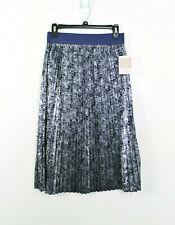 Lularoe Small Jill Pleated Skirt Metallic Blue Floral Print NWT