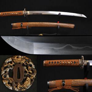 "31""JAPANESE SAMURAI SWORD WAKIZASHI CLAY TEMPERED 8196 LAYERS FOLDED STEEL BLADE"