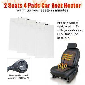 4x Universal Car Seat Heater Pads Kit Carbon Fiber Heating Heated Cushion Warmer