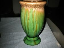Stunning Vintage Dripping Pain Art Deco Style GREEN Colored Vase WILD Beautiful