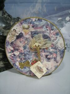 Lovely Victorian Style Round Shaped Handmade Decoupage Decorated Box Gift Tag