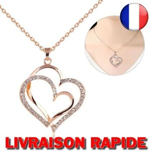 Necklace Heart Gold Pink Crystal Double Pendant Jewelry Love Rhinestone Chain