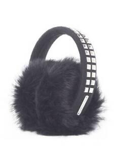MICHAEL MICHAEL KORS Black Studded Real Rabbit Fur Earmuffs