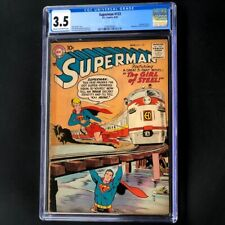 Superman #123 (DC Comics 1958) 💥 CGC 3.5 💥 SUPERGIRL Tryout! Silver Age Comic