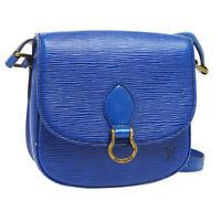 LOUIS VUITTON MINI SAINT CLOUD SHOULDER BAG VI0960 PURSE BLUE EPI M52215 A46710f