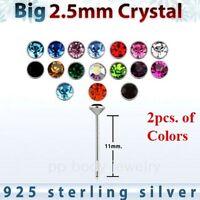 2pcs. 22g~2.5mm Flat C.Z. 925 Sterling Silver Straight Nose Stud (Choose Color)