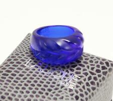LALIQUE HELICONIA SAPPHIRE BLUE TONE CRYSTAL BAND RING SIZE US-6/T51.5/UK-M