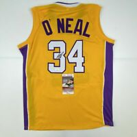 Autographed/Signed SHAQUILLE SHAQ O'NEAL Los Angeles Yellow Jersey JSA COA Auto
