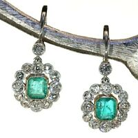 Antique Vintage 4.0Ctw Diamond/Emerald Halo Earrings 1920's 14K White Gold Over