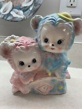 Vintage Rubens Pink Blue Bear ABC Seesaw Planter Anthropomorphic 6252