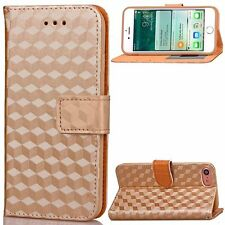 iPhone 7 Case PU Leather Flip Folio Magnetic Wallet Card Slots Strap Gold Cubes