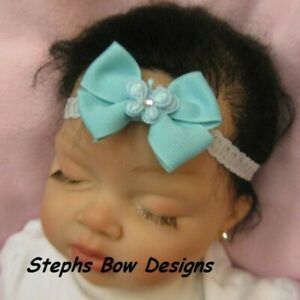 Aqua Butterfly Dainty Hair Bow Headband 4 Preemie Newborn to Toddler Easter Cute