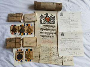 WW1 KIA 1914 STAR MEDAL TRIO & PAIR,KELLY BROTHERS,SCROLL,LETTERS,FROM BLACKBURN