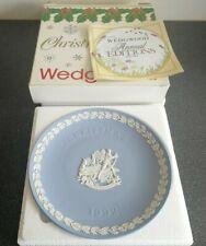 Boxed Wedgwood Blue Jasperware 1992 Christmas plate - children sledging