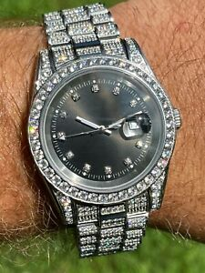 Mens Presidential Stainless 41mm Watch Fully Iced 12ct Flooded Out Diamond Bling