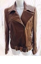 GUCCI Womens Leather Jacket Brown Silk Lining US 8 UK 12 IT 44