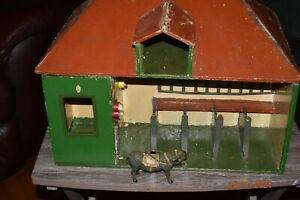 German Early 1900's Wooden Horse Stable /Barn Children's Toy